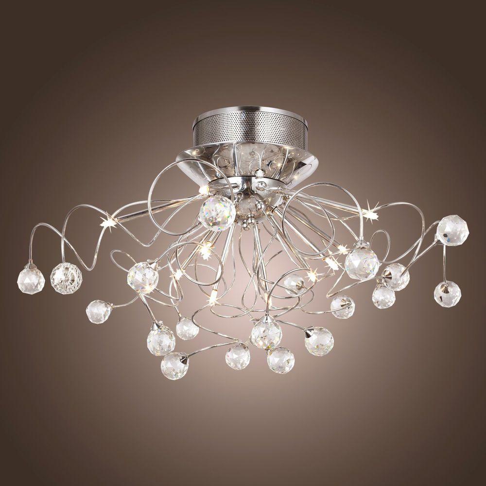Schon 11 Halogen Lamp Clear Crystal Flush Mount Ceiling Lights Chrome Finish Art