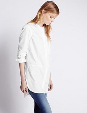 Pure Cotton Grandad Collar Longline Shirt