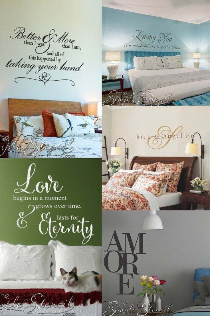 A collection of romantic vinyl decals designed to celebrate love and marriage can decorate your master bedroom beautifully. Browse a few of our most popular designs on Etsy. Would you like a custom design? Contact us for free sketch based on your vision.   #walldecals #walldecor #wallstencils #wallstickers #wallquotes #wallwords #walltypography #typography #typographyart #romanticdecor #homedecor #masterbedroomdecor #bedroommakeover #bedroomdecor #lovequotes #lovedecor #wallart #TheSimpleStencil