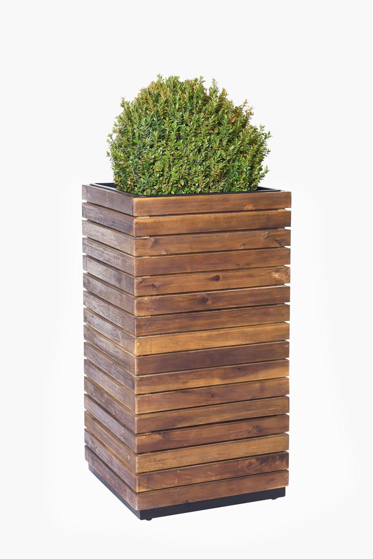 Pflanzkubel Blumenkubel Holz Akazie Block Saule Braun
