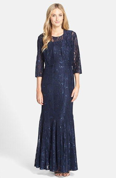 13f79ddeb69 Alex Evenings Sequin Lace Trumpet Gown with Jacket available at  Nordstrom