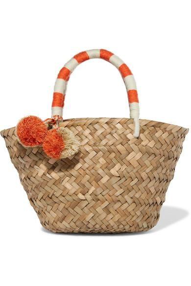 Kayu St Tropez Mini Pompom Embellished Woven Straw Tote Straw Tote Woven Tote Bag Beige Tote Bag