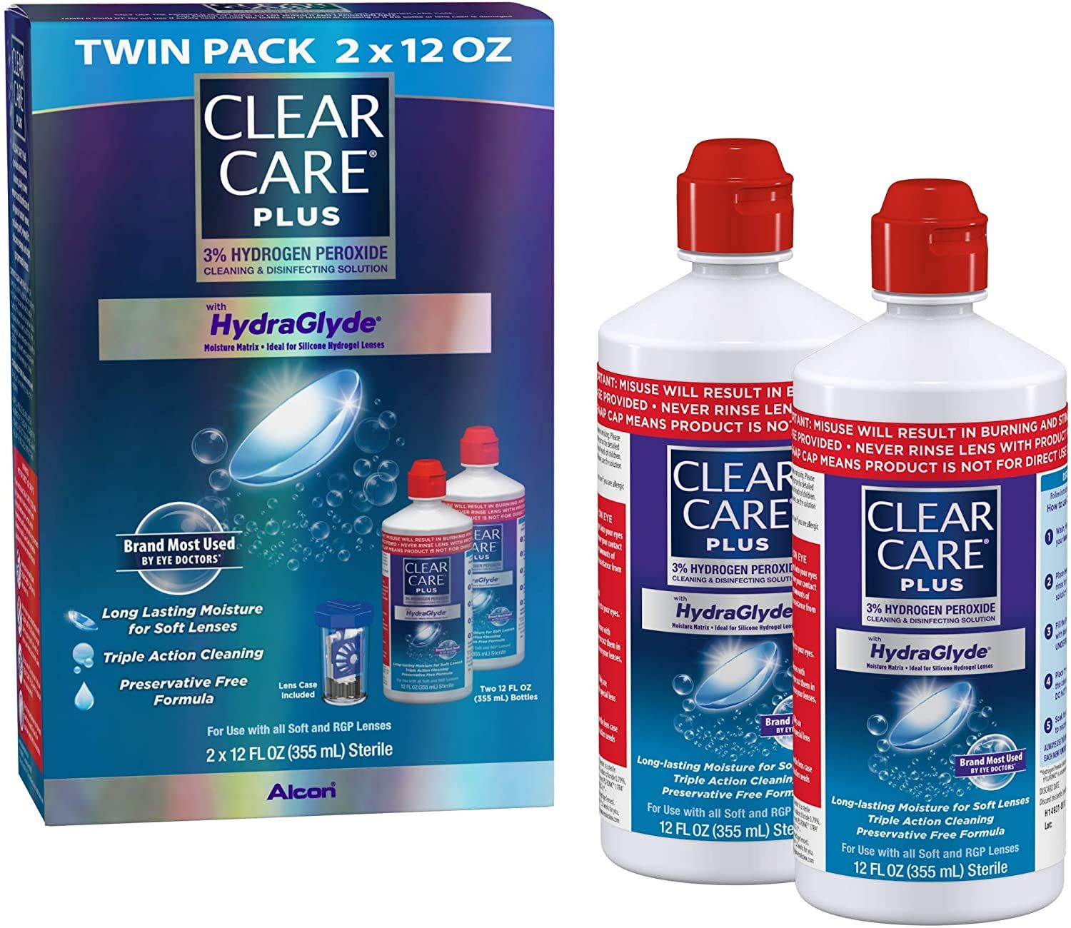 Clear Care Plus Cleaning And Disinfecting Solution With Lens Case Twin Pack 12 Ounces Each In 2020 Twin Pack Gas Permeable Contact Lenses Soft Lens