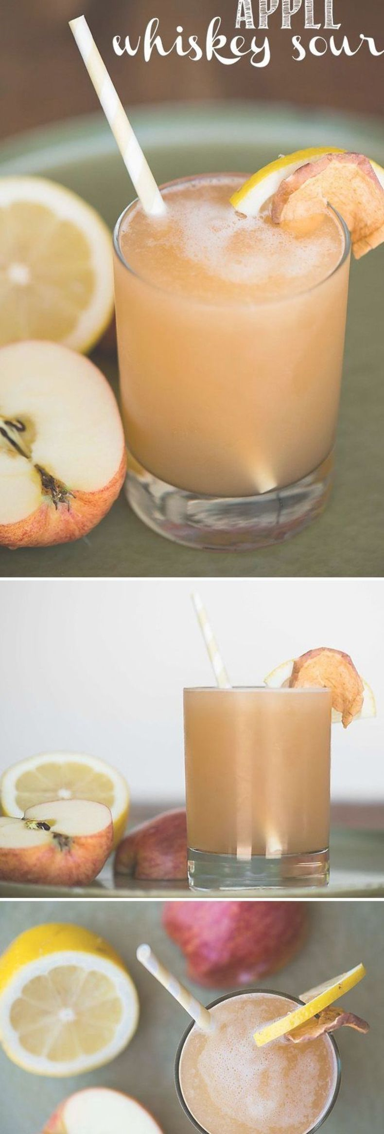 Apple Whiskey Sour, blended with apple juice, bourbon whiskey, lemon, and simple syrup, is an easy fall cocktail and a perfect Thanksgiving drink! #thanksgivingdrinksalcohol