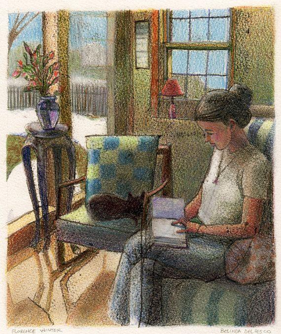 Woman Reading with a Cat Original Art Print Belinda by bdelpesco Repinned by www.elleryadamsmysteries.com
