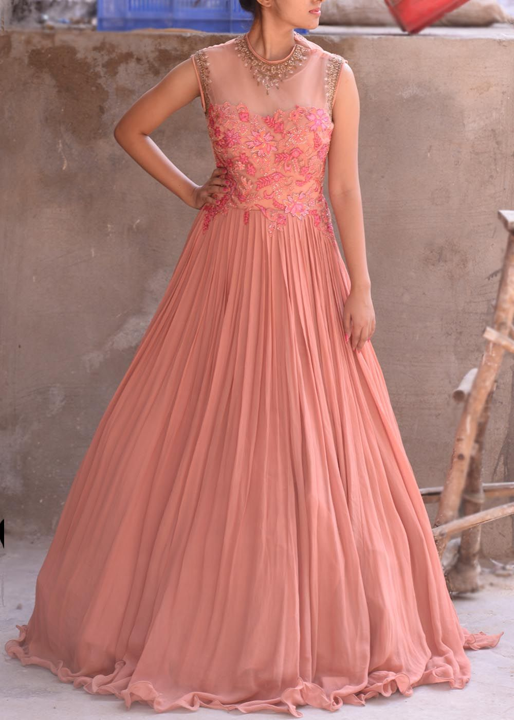 Pink georgette indo western dress vasansi indo western