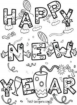 Free Happy new year coloring sheets for kids.printable