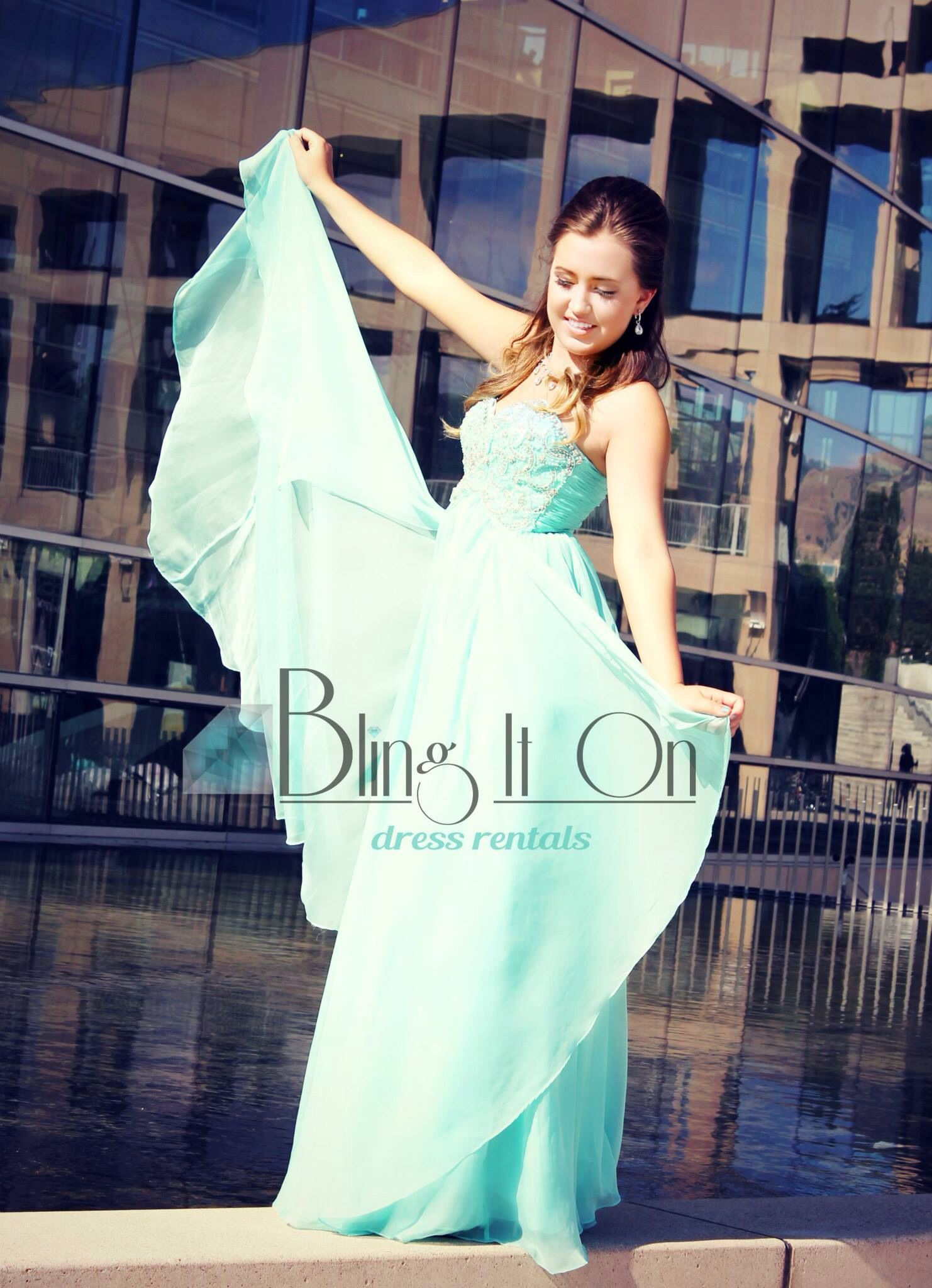 Aqua Prom Dress All Dresses Available At Bling It On Dress Rentals