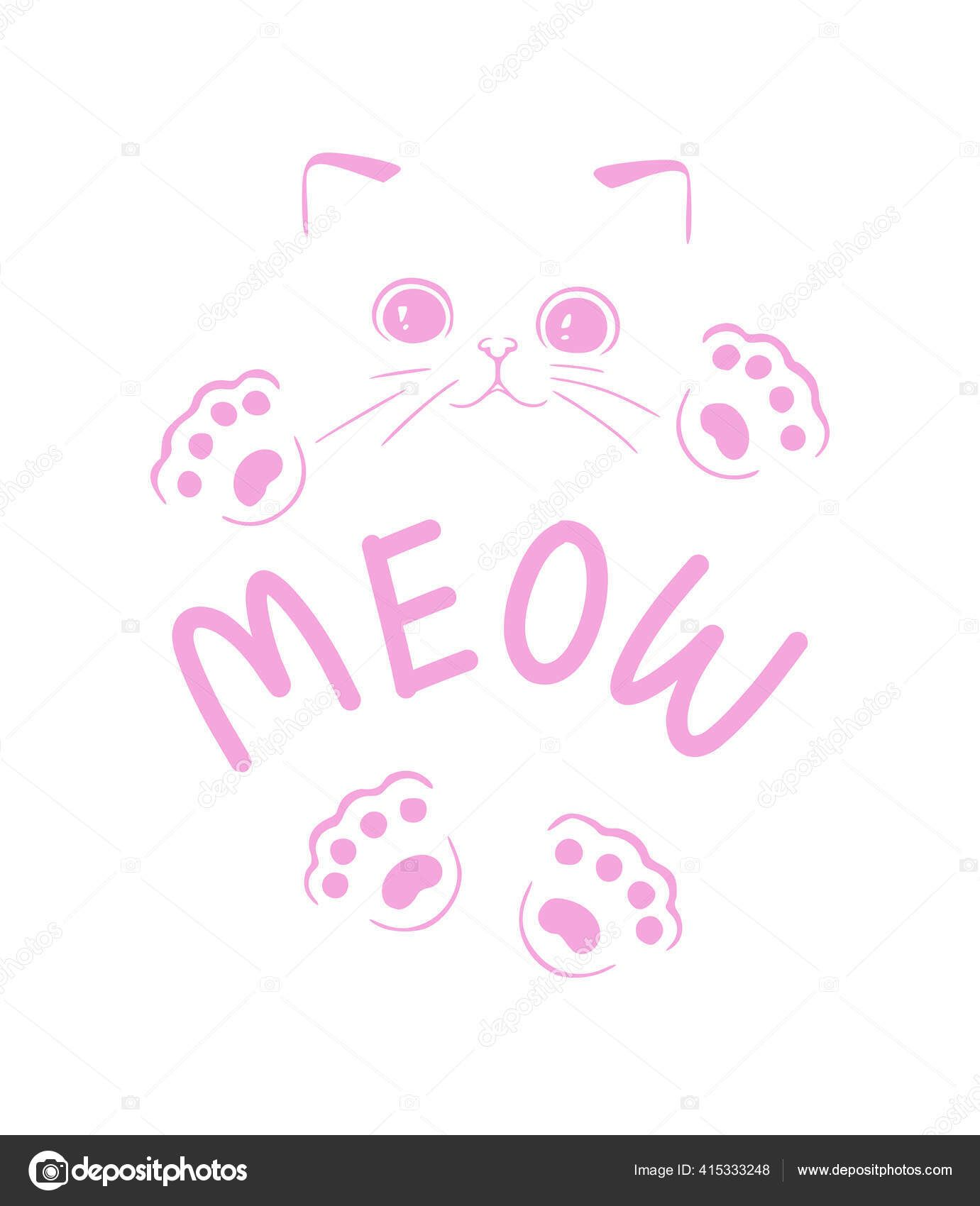 Cute Cat Paw Drawing : drawing, Outline, Cartoon, Kawaii, Silhouette, Drawing, Lettering, Paws., Drawing,, Kittens, Funny,