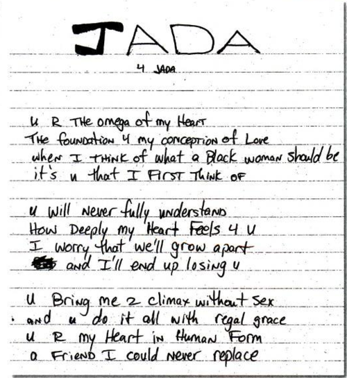 A poem written by Tupac Shakur to Jada Pinkett Smith while