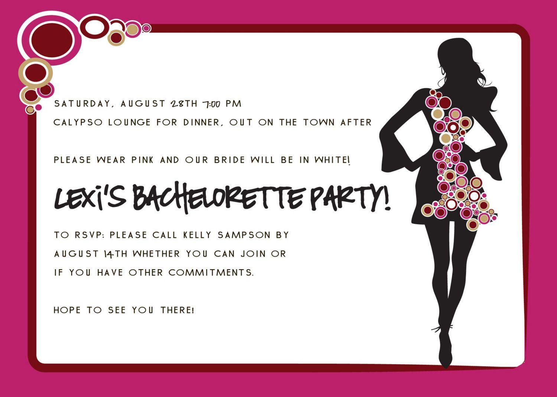Bachelorette Party Invitation Wording Modern Designs