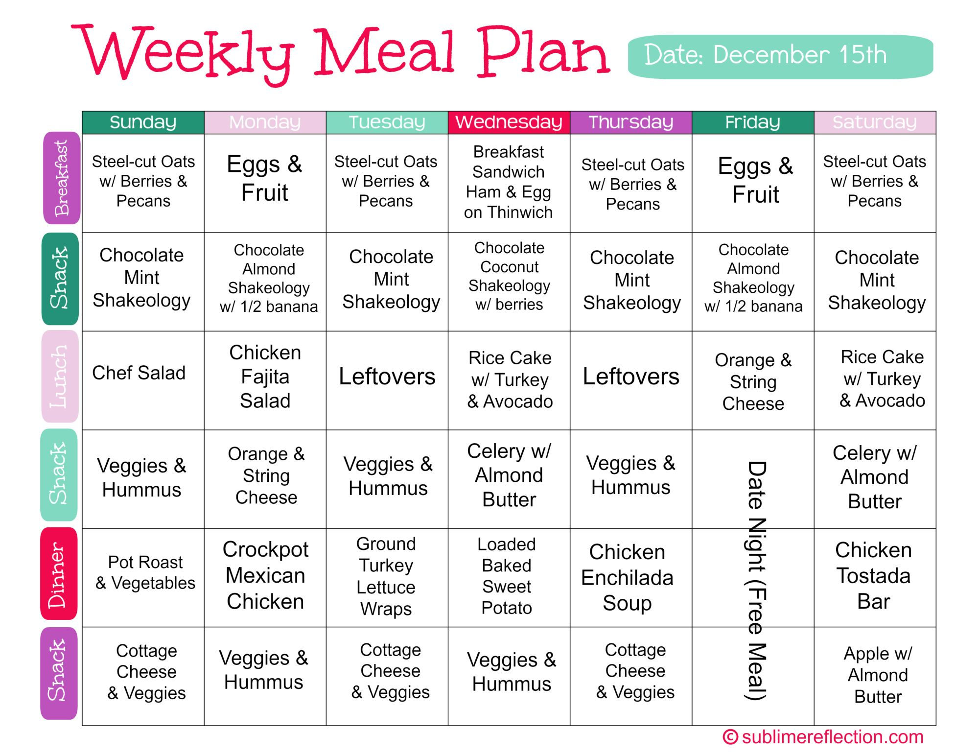 Clean Eating Meal Plan 2 Clean eating meal plan, Meals