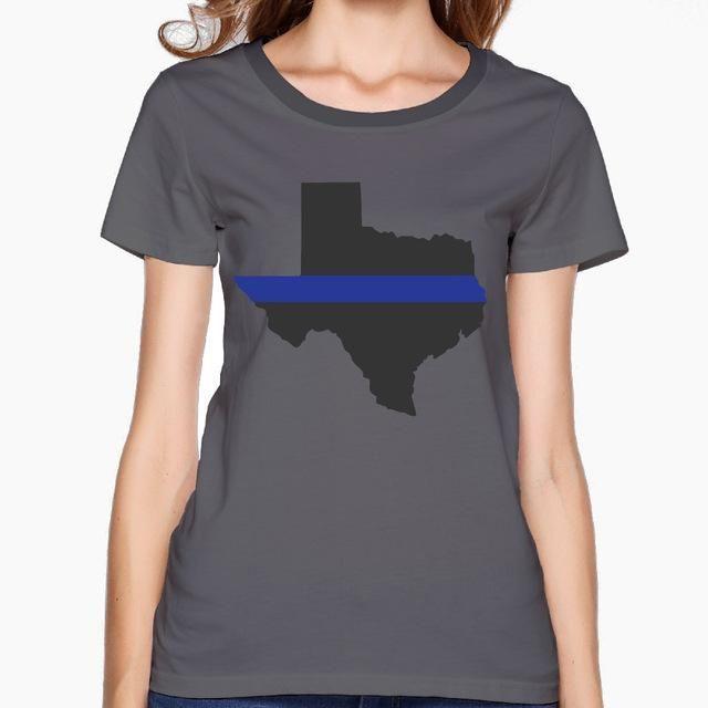 Thin Blue Line Ladies Texas Flag Cotton T shirts