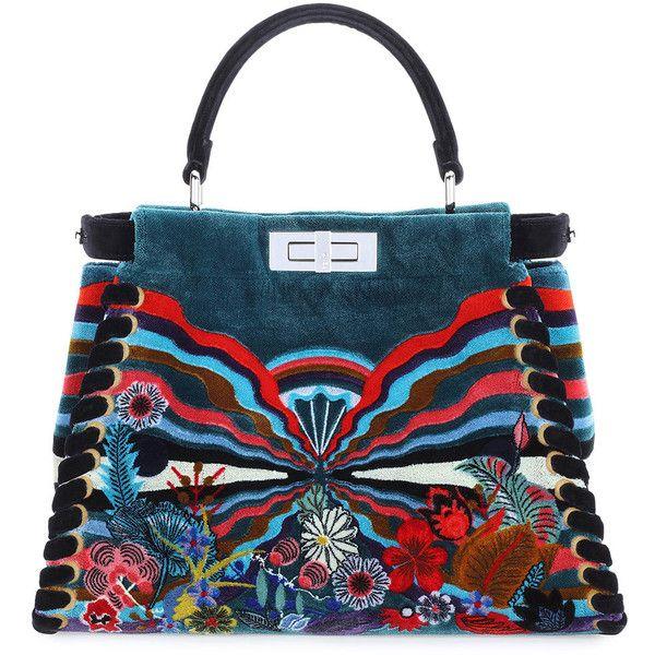f85c2b4b52 Fendi Peekaboo Medium Embroidered Velvet Bag ( 10