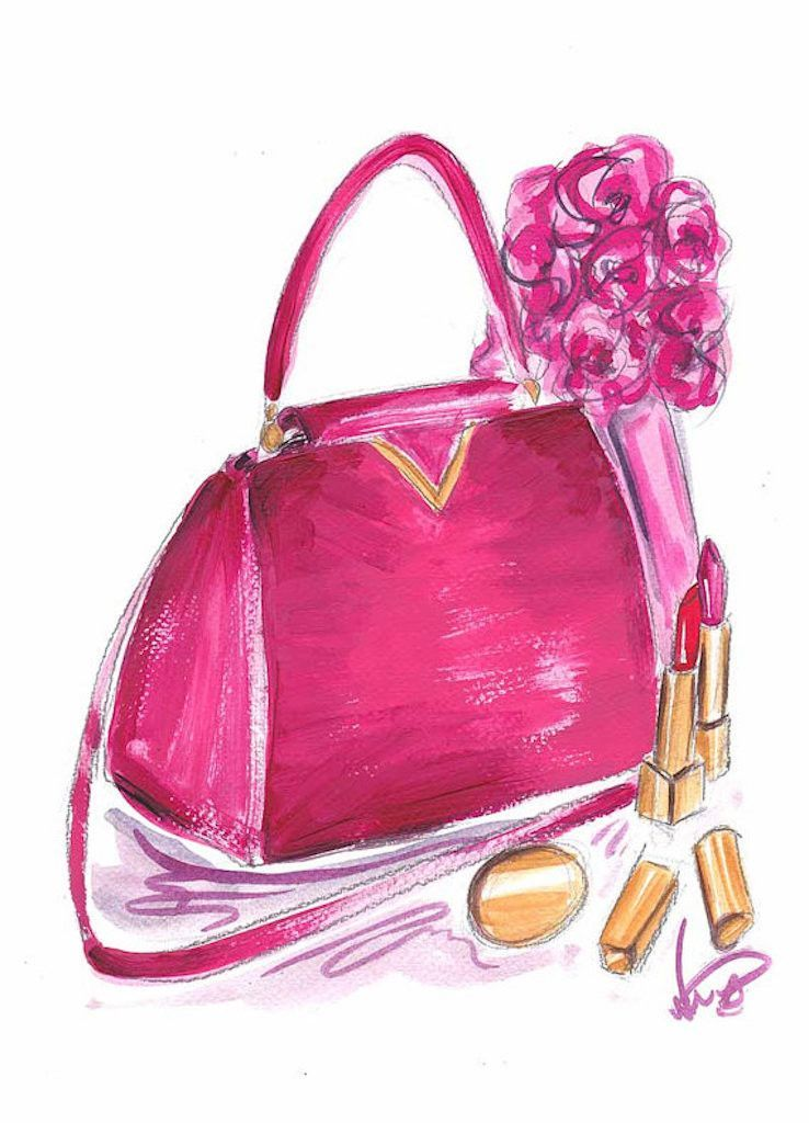 Pink Handbag - Art Print #pink #fashion #glam #glamorous #decor #interiordecor #design #art #wallart