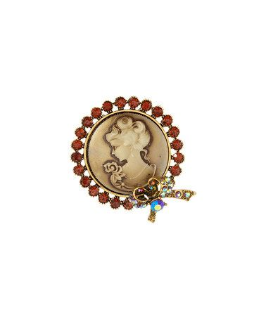 Another great find on #zulily! Simulated Topaz & Goldtone Circle Cameo…