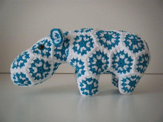 Crochet hippopotamus made out of Granny Squares - Grannies ...