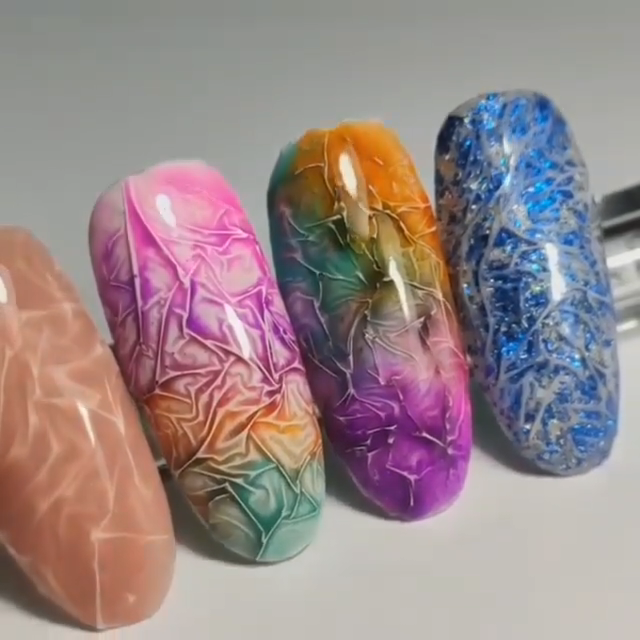 Creative colorful wrinkle nail design 💅🏼😍💕