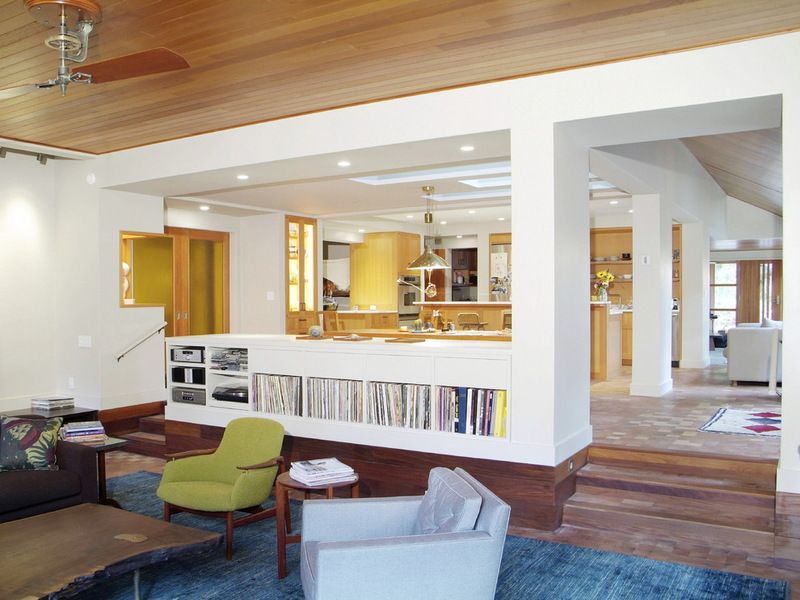 Division Between Kitchen And Living Areas Contemporary Living