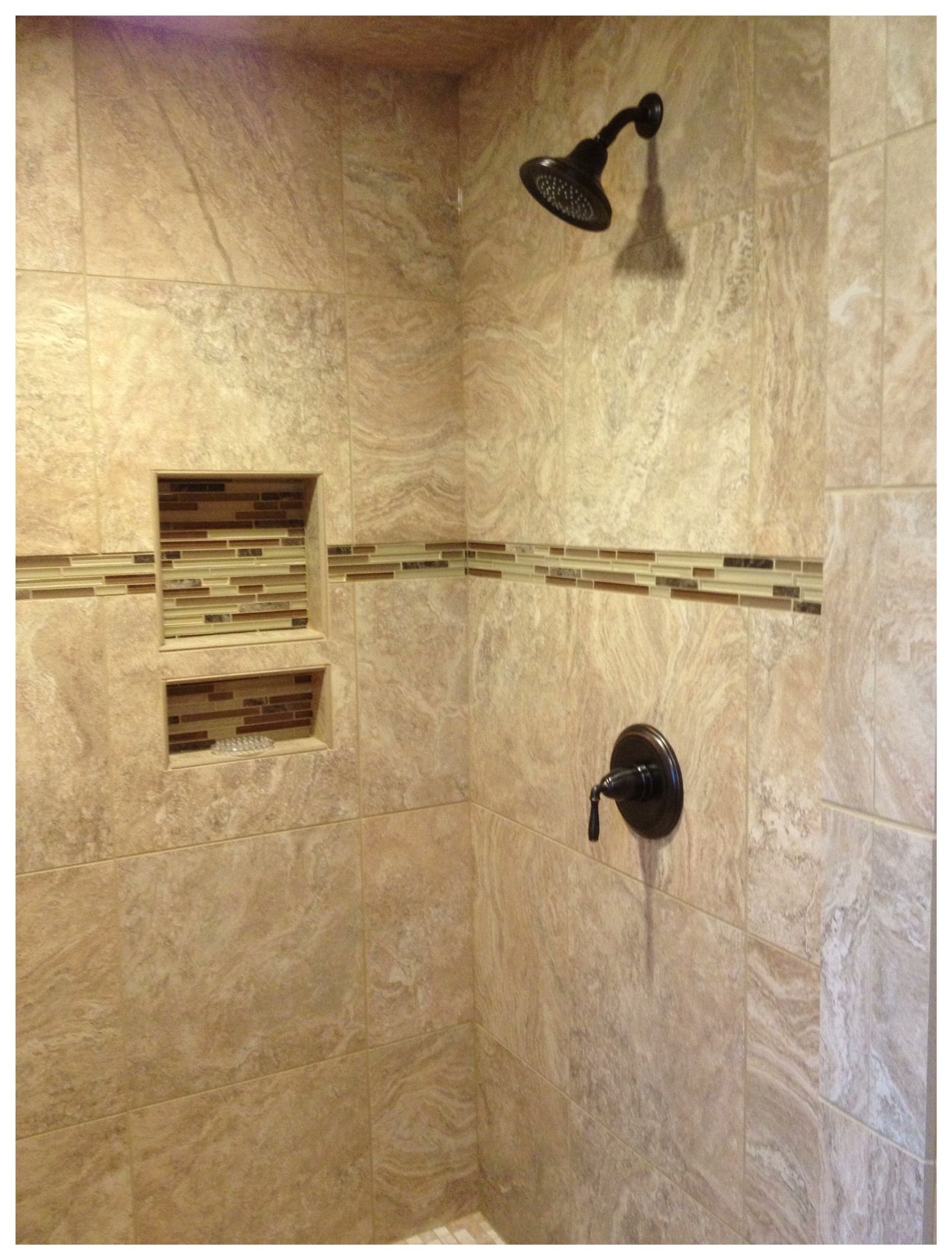 Walk in shower. 18 x 18 tiles & glass listello. J. Aeby home. 2013 ...