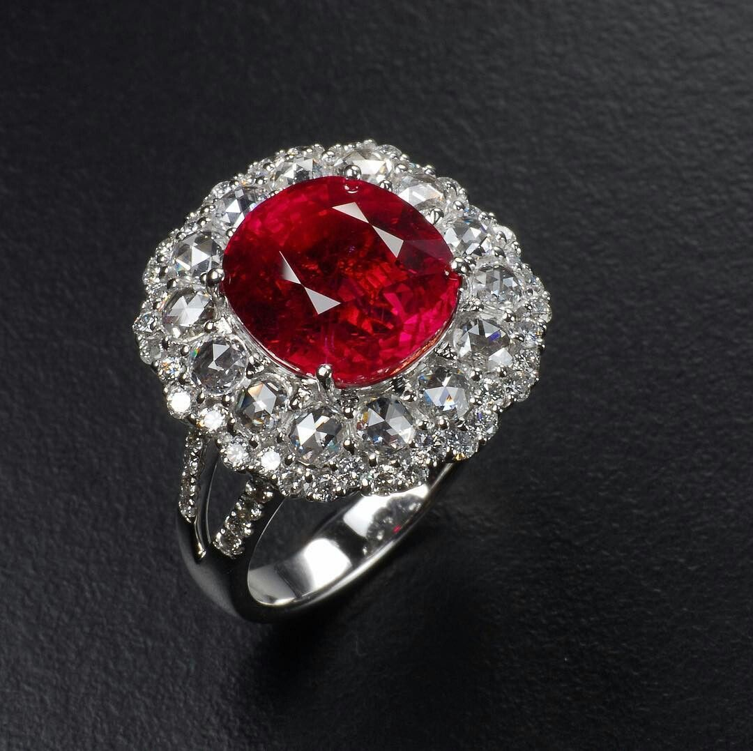 Burma Noheated More Than 5ct The Color Of The Stone Just Stunning Ruby Diamond Rings Round Diamond Earrings Jewelry