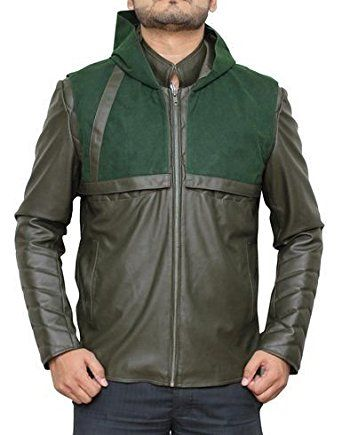 Green Arrow Jacket by Stephen Amell Hooded Men's Quilted Style Leather  Jacket: Amazon.co