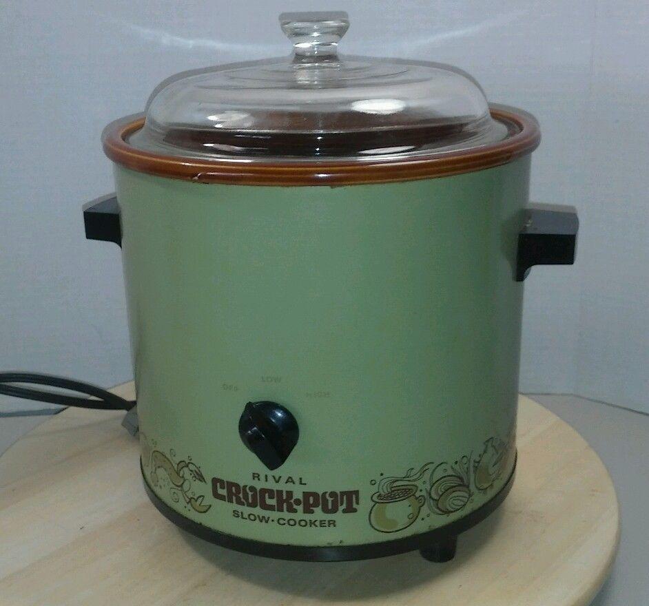 Vintage Rival Crock Pot Slow Cooker Glass Lid 3 5 Qt Model