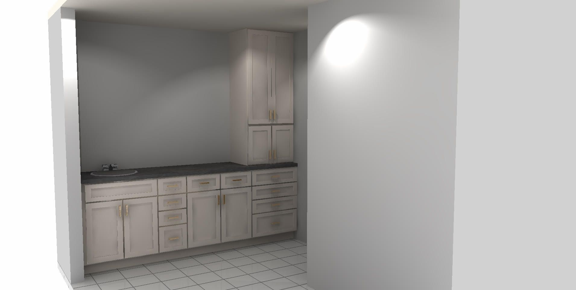 Tracey 84 Lumber provided this initial render of the master bath cabinets with garage and tower