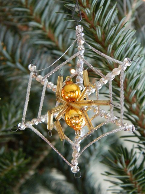 spider and web christmas tree ornament insect decor christmas christmas ornaments. Black Bedroom Furniture Sets. Home Design Ideas