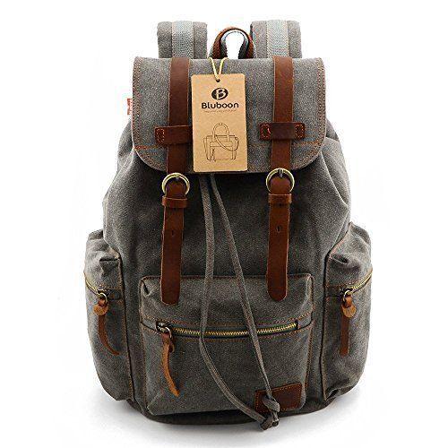 02f79a62a4 Bluboon Grey Vintage Men Casual Canvas Leather Backpack Rucksack Bookbag  Satchel
