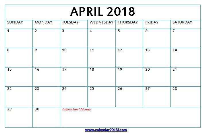 Download April 2018 Word Calendar MaxCalendars Calendar