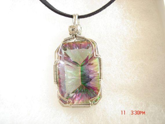 Wire wrap Mystic Fire Quartz necklace pendant by CasieCreations ...