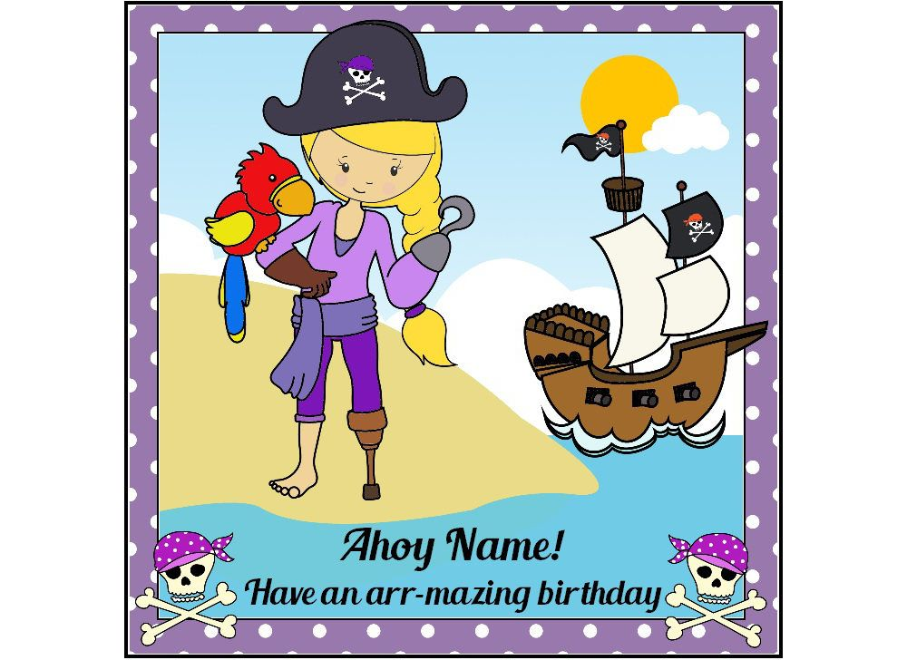 Pirate Girl Birthday Card Personalised Card Pirate Birthday