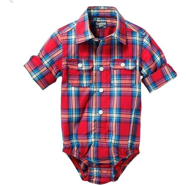 OshKosh B'gosh Plaid Woven Bodysuit Baby ($10) ❤ liked on Polyvore featuring baby and baby boy clothes