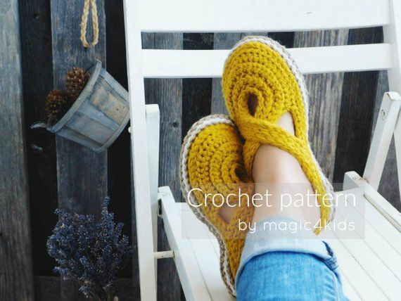 0517e589fb0cd CROCHET PATTERN- women twisted strap clogs with rope soles,soles ...