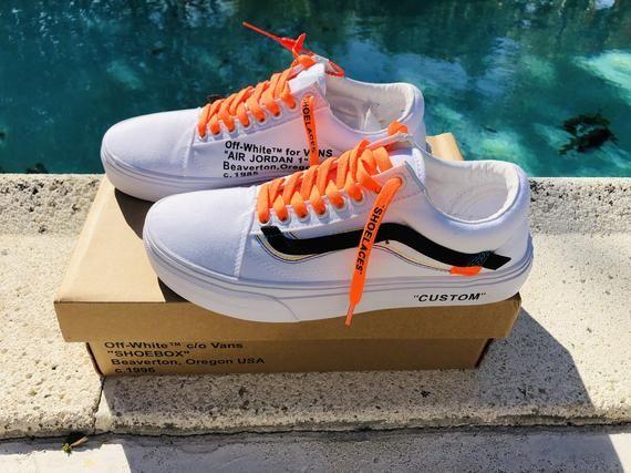 df9ffacd79e55 Vans Old Skool x Off White White Inspired Custom Design Shoes Men ...