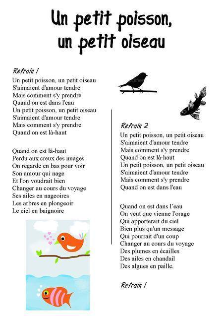 Petit Poisson Dans L'eau Comptine : petit, poisson, l'eau, comptine, Petit, Poisson,, Oiseau, S'aimaient, D'amour, Tendre..., Chemin, Tables,, Photos, Comptines, Paroles,, Comptine