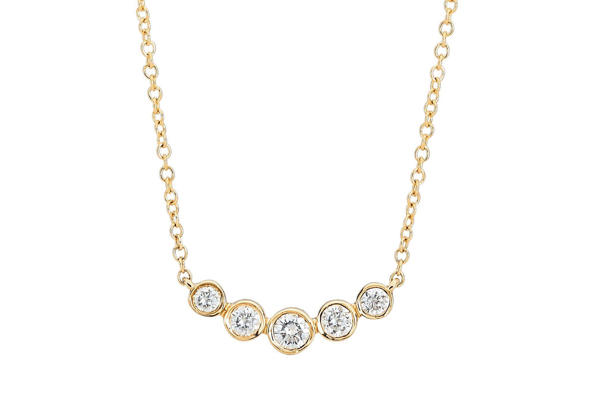 Ef collection multi bezel diamond mini crescent necklace yellow gold