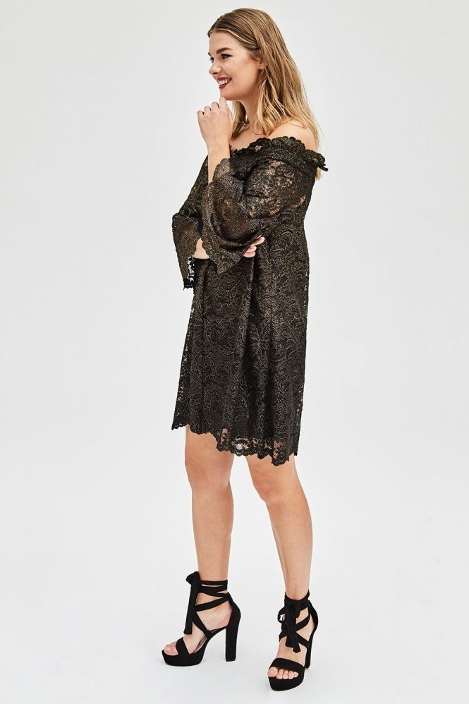 Black And Gold Bardot Lace Dress Clothing Footwear