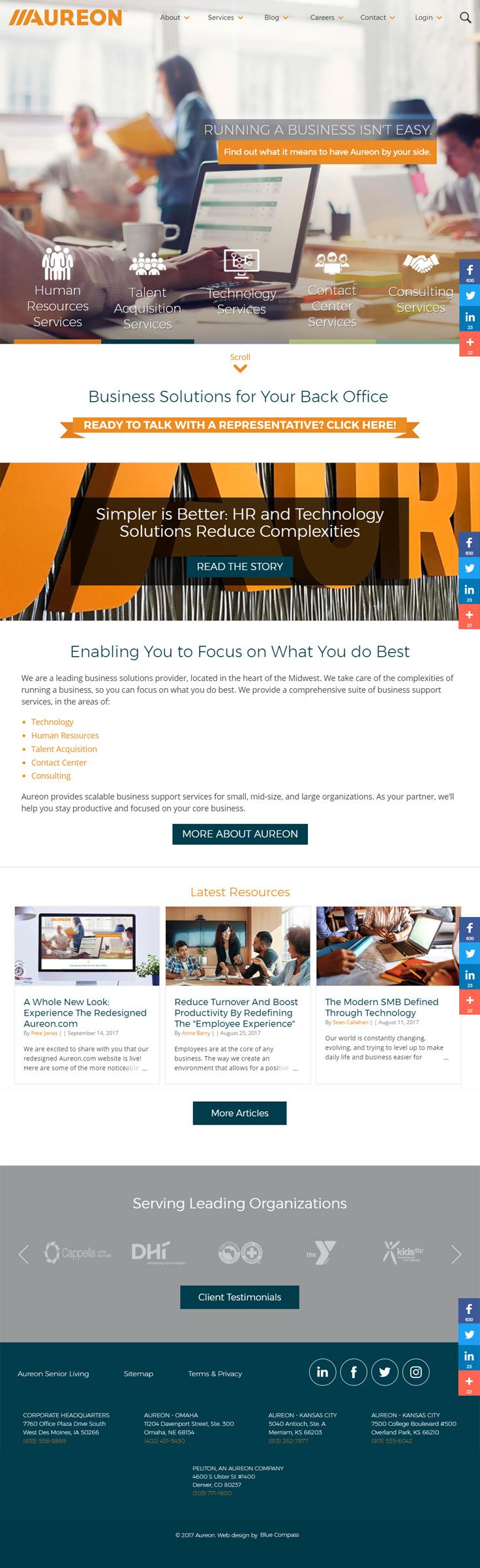 Aureon S New User Friendly Web Design Technology Solutions Blue Compass Web Design