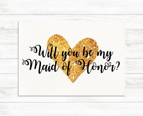 graphic regarding Will You Be My Maid of Honor Printable named Will Yourself Be My Maid of Honor, Gold Printable Maid of Honor