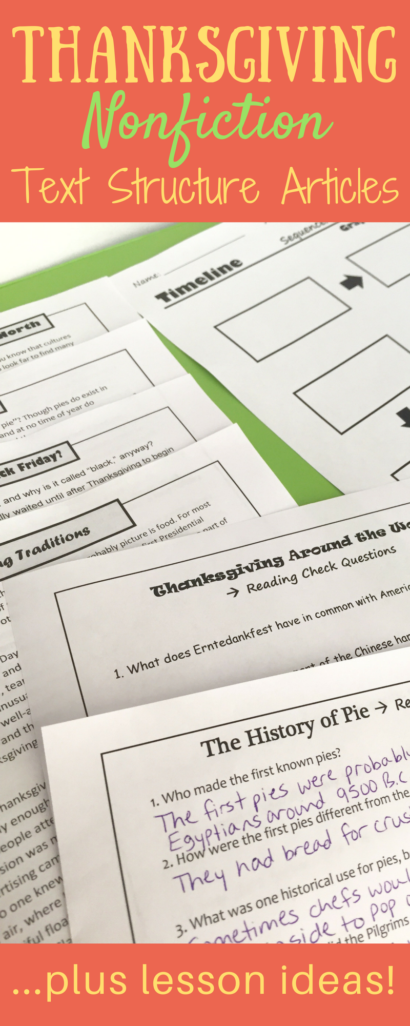 Workbooks thanksgiving reading comprehension worksheets middle school : Thanksgiving Nonfiction Text Structure Articles | Reading passages ...