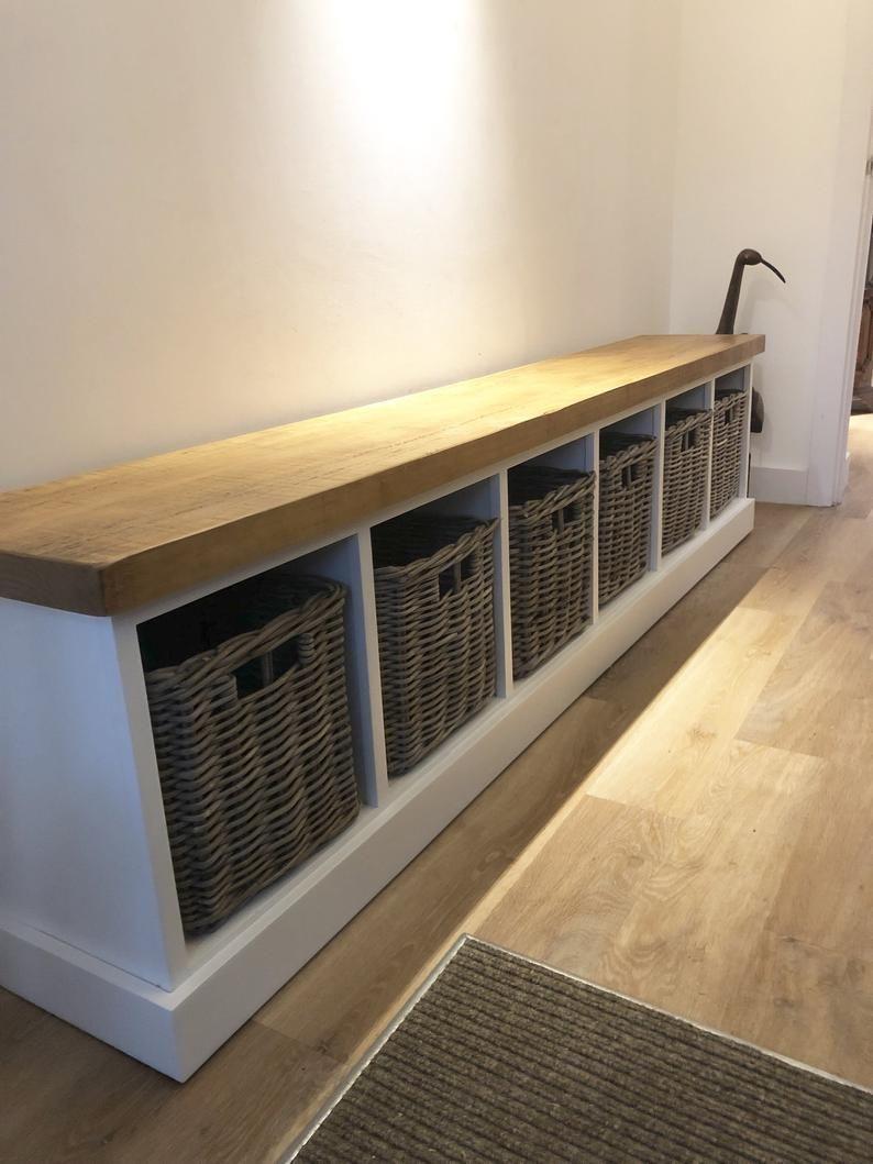 Painted Shoe Rack Storage Bench with 6 Baskets 224cm *Entrance Porch Reception Hallway Grey Blue *choose colour* BASKETS INCLUDED