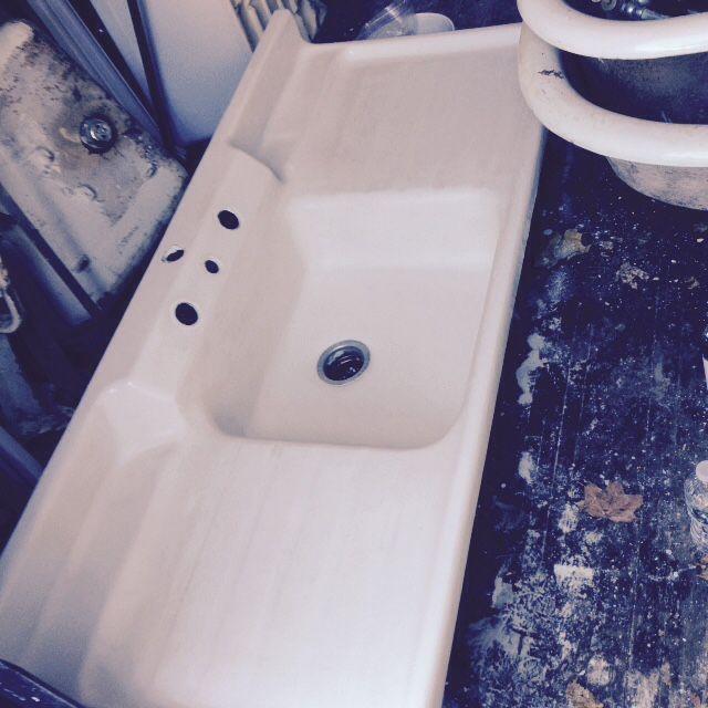 Vintage Crane Co. Single Basin Double Drainboard Porcelain Over Cast ...