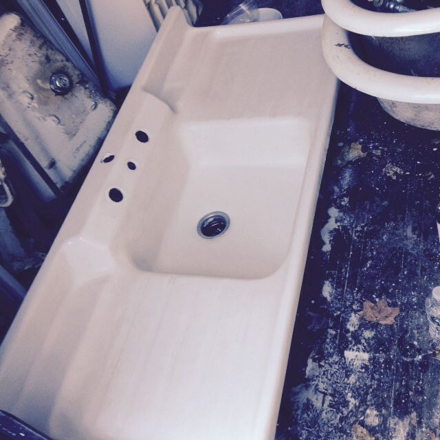 Vintage Crane Co Single Basin Double Drainboard Porcelain Over
