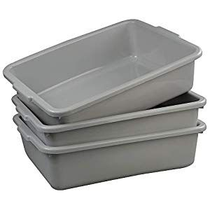 Ucake Large Light Grey Plastic Washing Up Basins Bowls Shallow Nesting Food Storage Cat Litter Trays Bus Tub Utility Box 3 Pack Cupboard Pasta-Pulses Cupboard Spices-Seasonings Cupboard Minerals-Supplements Capsules Water Cupboard Supplies Mixes Flour-Mixes Supplies Tools Cloths-Wipes