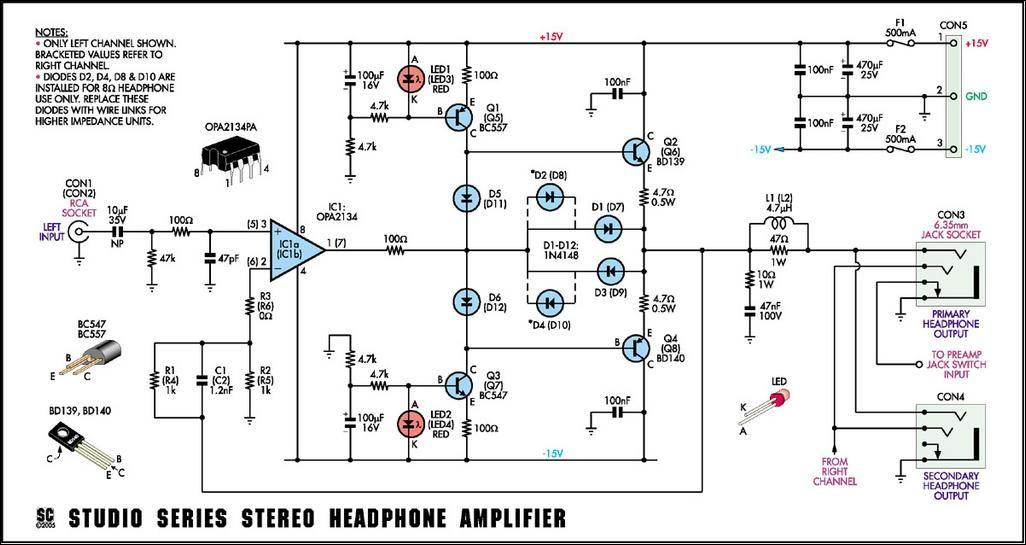 studio series stereo headphone amplifier circuit opa2134 bd140 39 rh pinterest ca Audio Amplifier Circuit Amplifier Circuit Board