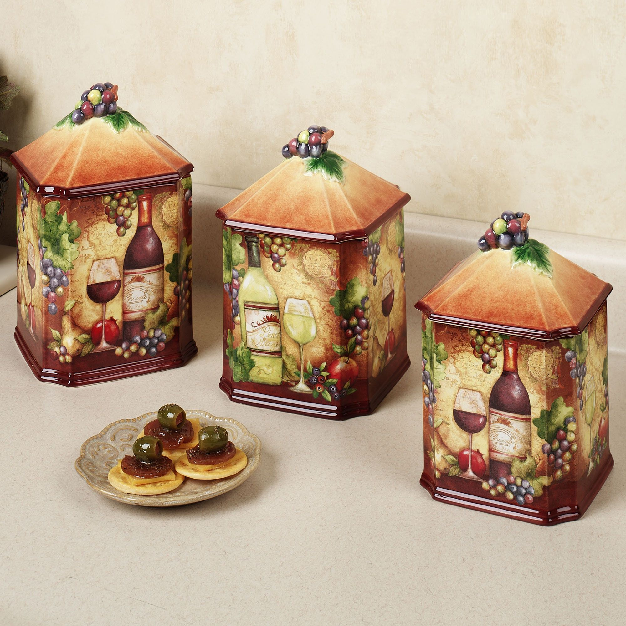 Rustic Kitchen Canister Sets Tropical Kitchen Table Sets Home Wine Map Canister Set Multi
