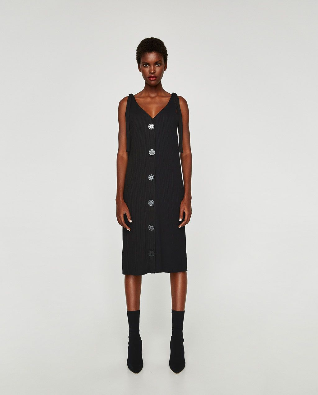 e7eb4022e38 Image 1 of RIBBED DRESS WITH THIN STRAPS from Zara