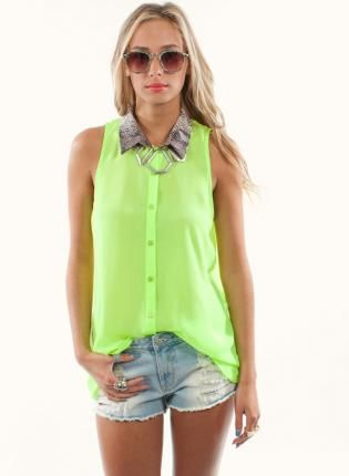 Neon Lime Green Button Down Shirt with Snakeskin Collar, Top, neon ...